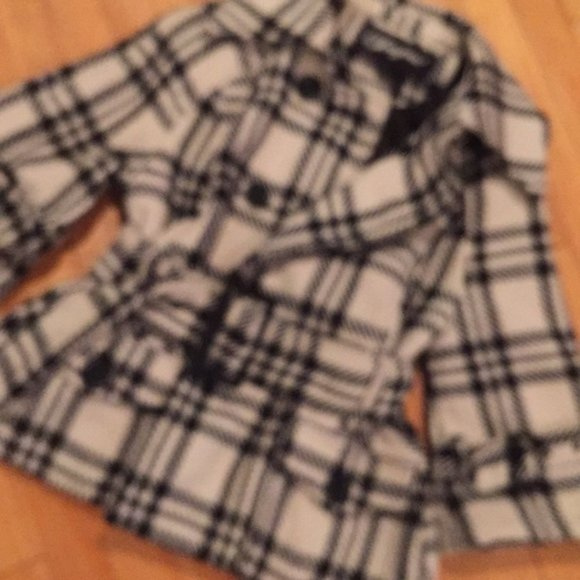 Joujou Black/winter white wool plaid jacket